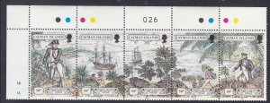Cayman Islands 1989 Mutiny on the Bounty Strip Of 5 Very Fine