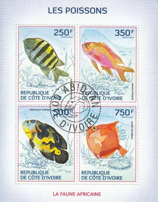 Ivory Coast  Fishes  4v  CTO Used Sheetlet   75318