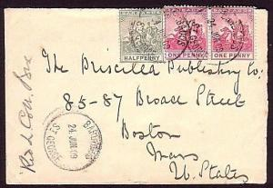 BARBADOS 1909 cover to USA :  ST GEORGES village cds.......................34449