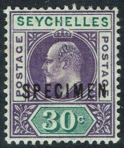 SEYCHELLES 1903 KEVII SPECIMEN 30C WMK CROWN CA