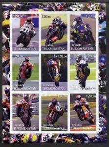 Turkmenistan 2001 Racing Motorcyclists imperf sheetlet co...