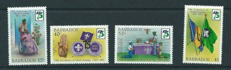 BARBADOS SG709/12 1982 75TH ANNIV OF BOY SCOUT MOVEMENT MNH