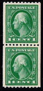 US STAMP #441 1c 1914 Coil STAMP MNH/OG PAIR SUPERB