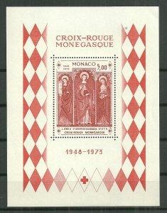 1973 Monaco 864  Red Cross souvenir sheet MNH