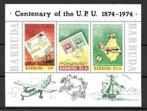 Barbuda 1974 U.P.U. Souvenir Sheet, Scott 169a MNH (stamps; airplane)