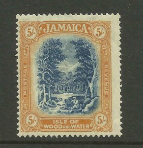 JAMAICA 1921/3  Sg 105, 5/- Blue-Yellow-Brown Lightly Mounted Mint. {B9-73}