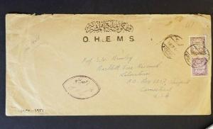 1938 Egypt to Stamford Connecticut USA Official OHEMS Parliament Air Mail Cover