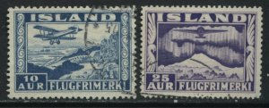 Iceland 1934 Airmails 10 and 25 aurar used