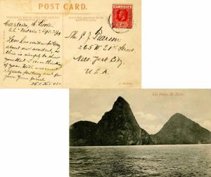 Saint Lucia 1d KGV 1919 Castries, St. Lucia PPC (The Pitons) to New York, N.Y.