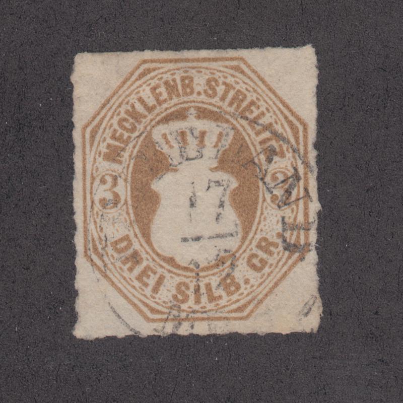 Mecklenburg-Strelitz Sc 6 used 1864 3sg bistre, Scarce