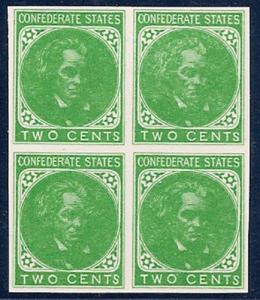 MALACK Confed #14 Reprint in Green, TWO CENTS, Block, no gum ww0108