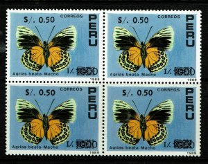 Peru SC# 1037, blk of 4, Mint Never Hinged, some dry gum spots - S11917