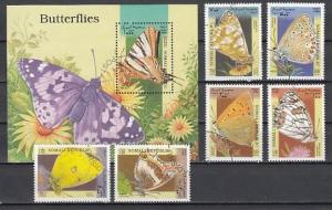 Somali Rep., 1998 issue. Butterflies set & s/sheet.  Canceled. ^