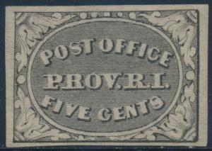 #10X1 5¢ GRAY BLACK PROVIDENCE, R.I. POSTMASTERS PROVISIONAL VF CV $350 BT9161