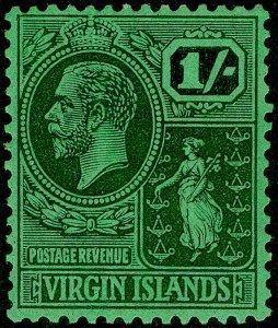 BRITISH VIRGIN ISLANDS GV SG99, 1s black/emerald, LH MINT.