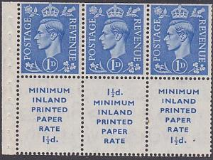 GB GVI 1d booklet pane with adverts inverted watermark MNH...................188