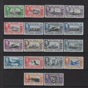 FALKLAND IS. SCOTT #84-96/101-102 GEORGE VI SET (18 STAMPS) MINT XLH/NH