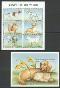 QQ027 NEVIS FAUNA PETS DOGS CANINES OF THE WORLD 1KB+1BL MNH