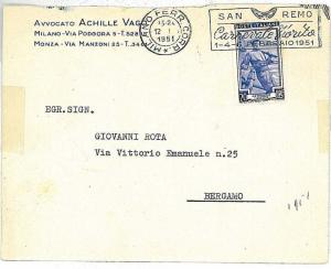 CARNIVAL : POSTAL HISTORY : postmark on COVER : ITALY 1951