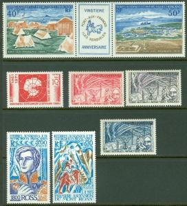 EDW1949SELL : F.S.A.T. 1957-76 Scott #8-10, 45, 64-65, C25a All VF MNH Cat $89.