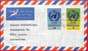 aa2365 - Rhodesia  - POSTAL HISTORY -  AIRMAIL COVER to SWITZERLAND  1970's