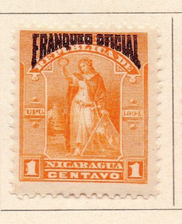Nicaragua 1894 Early Issue Fine Mint Hinged Optd Franqueo Official 1c. 155288