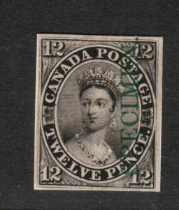 Canada #3Piii Very Fine Plate Proof With Vertical Green Specimen India On Card