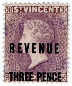(I.B) St Vincent Revenue : Duty Stamp 3d on 6d OP