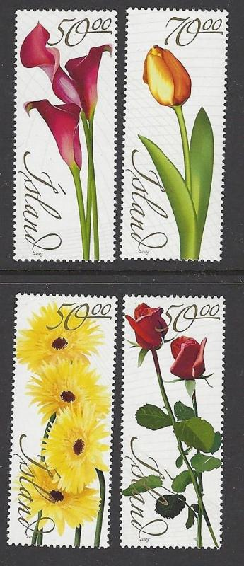 Iceland 2005 Flowers Rose Tulip VF MNH (1039-42)