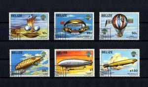 BELIZE - 1983 - MANNED FLIGHT - AIRSHIP - BALLOON - DIRIGIBLE - 6 X CTO NH SET!