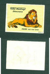 Denmark. Poster Stamp. Vibe-Hastrup Shoe Polish. Lion.