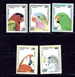 Cambodia 1437-41 MNH 1995 Parrots