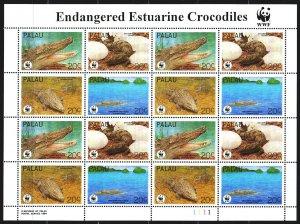 Palau. 1994. Small sheet 686-89. Crocodiles, WWF. MNH.