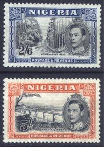 Nigeria 1938 2/6-5/- PERF 13x11.5 SG 58-59 Scott 63c-64c VLMM/MVLH Cat£170($212)