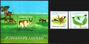 Uzbekistan. 2014. 1077-78, bl69. Fauna of Uzbekistan. MNH.