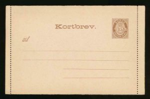 NORWAY Mi. K7 POSTAL STATIONERY LETTER CARD 7o BROWN