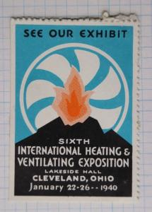 Intl Heating Ventilating HVAC industry expo show Cleveland 1940 art Poster ad