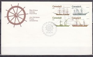 Canada, Scott cat. 670-673. Coastal Ships issue. First day cover. ^