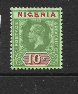 NIGERIA 1914-29  10/-   KGV   MLH   SG 11b