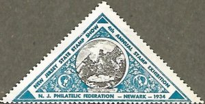 US CINDERELLA: 4th Annual New Jersey State Stamp Show MLH blue sticker (1934)
