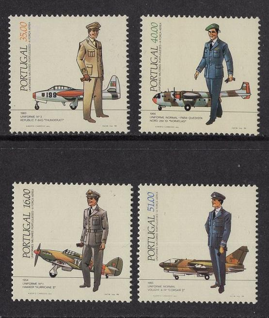 Portugal  #1589-1592    MNH  1984  air force dress uniforms and planes