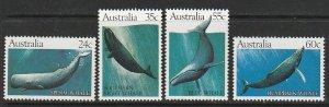 1982 Australia - Sc 821-4 - 4 singles - MNH VF - Whales