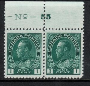 Canada #104viii Extra Fine Never Hinged Plate #55 Pair **With Certificate**