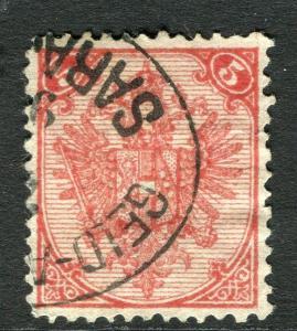 BOSNIA HERZEGOVINA;  1879 early Arms issue used 5k. value  fair Postmark