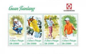 St Thomas - PGA Golf Player Guan Tianlang - 4 Stamp Sheet - ST13318a