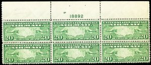 US Stamps # C9 MNH XF Top Plate Block of 6