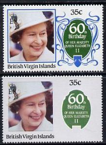 British Virgin Islands 1986 Queen's 60th Birthday 35c wit...