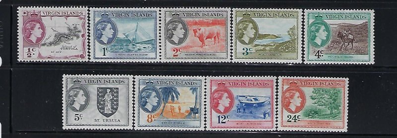 VIRGIN IS. SCOTT #115-123 1956 QEII PICTORIALS- SHORT SET-  MINT LIGHT HINGED