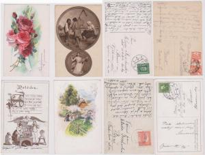 Czechoslovakia 4 Used Post Cards 1920-1935 Paintings/Drawings