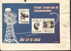 V) 1966 CARIBBEAN, 1ST NATIONAL TELECOMMUNICATIONS FORUM, SOUVENNIR SHEET IMPERF